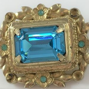 Vintage Coro Sky Blue Glass Rhinestone Pin Brooch